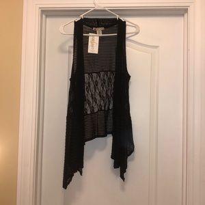 black lace sleeveless cardigan
